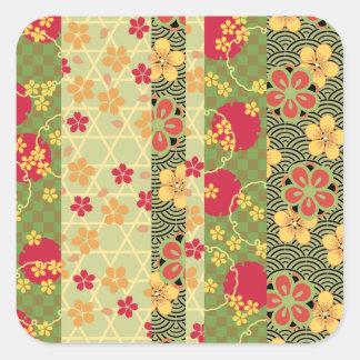 Cute Vintage Retro Fine Floral Kimono Pattern Square Sticker