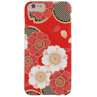 Cute Vintage Retro Floral Red White Vector Barely There iPhone 6 Plus Case