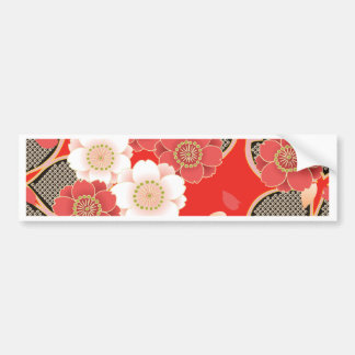 Cute Vintage Retro Floral Red White Vector Bumper Stickers