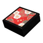 Cute Vintage Retro Floral Red White Vector Keepsake Box