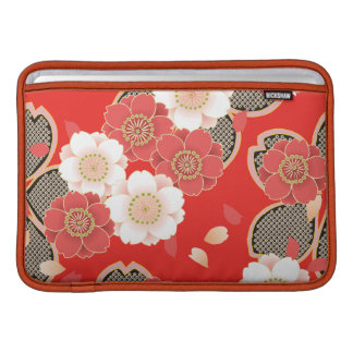 Cute Vintage Retro Floral Red White Vector MacBook Sleeve