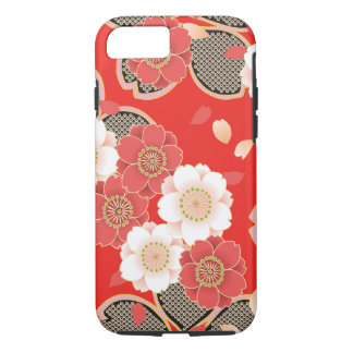 Cute Vintage Retro Floral Red White Vector iPhone 7 Case