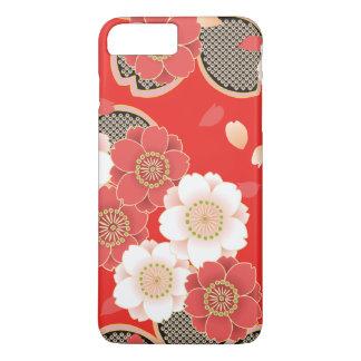 Cute Vintage Retro Floral Red White Vector iPhone 7 Plus Case