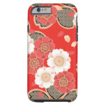 Cute Vintage Retro Floral Red White Vector iPhone 6 Case