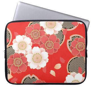 Cute Vintage Retro Floral Red White Vector Laptop Sleeves
