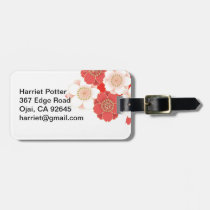 Cute Vintage Retro Floral Red White Vector Travel Bag Tag