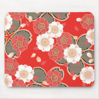 Cute Vintage Retro Floral Red White Vector Mousepads