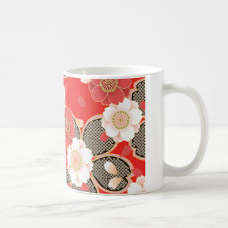 Cute Vintage Retro Floral Red White Vector Mugs