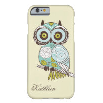 Cute Vintage Retro Groovy Owl Monogram Barely There iPhone 6 Case