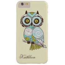 Cute Vintage Retro Groovy Owl Monogram Barely There iPhone 6 Plus Case