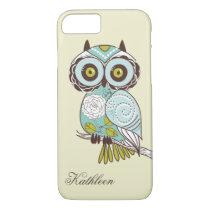 Cute Vintage Retro Groovy Owl Monogram iPhone 7 Case