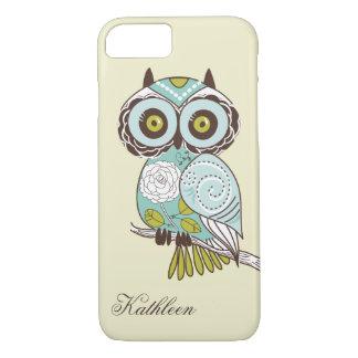Cute Vintage Retro Groovy Owl Monogram iPhone 8/7 Case
