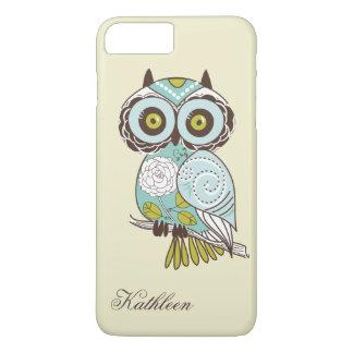 Cute Vintage Retro Groovy Owl Monogram iPhone 8 Plus/7 Plus Case