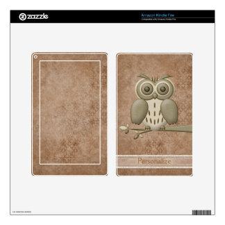 Cute Vintage Retro Owl Personalized Kindle Skin