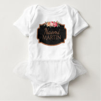 Cute Vintage Roses Girly Pink Floral Monogram Name Baby Bodysuit