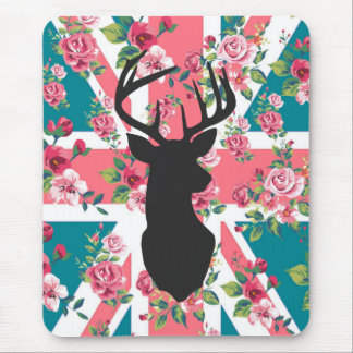 Cute vintage roses U.K. Union Jack Flag deer head Mouse Pad
