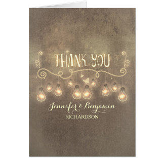 cute vintage rustic wedding thank you card