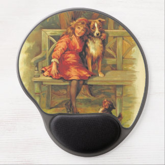 Cute Vintage Scene of Girl and Dogs 1893 Gel Mouse Pad