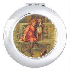 Cute Vintage Scene Of Girl And Dogs 1893 Makeup Mirror at Zazzle
