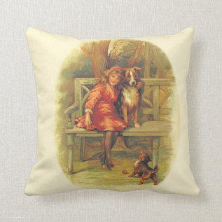 Cute Vintage Scene Of Girl And Dogs 1893 On Pillow at Zazzle