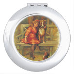 Cute Vintage Scene of Girl and Dogs 1893 Vanity Mirrors