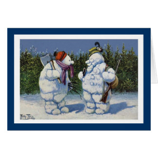 Cute Vintage Snowman Holiday Chiristmas Card