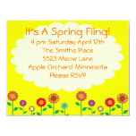 Cute Vintage Spring Theme Party 4.25x5.5 Paper Invitation Card