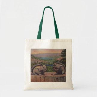 Cute Vintage Squirrels Mountains Tote Bag