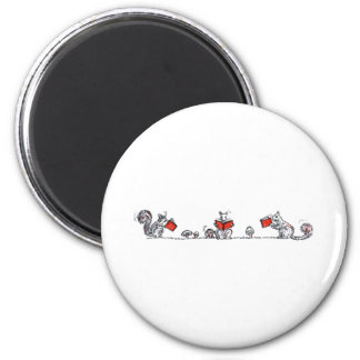 Cute Vintage Squirrels Reading Books 2 Inch Round Magnet