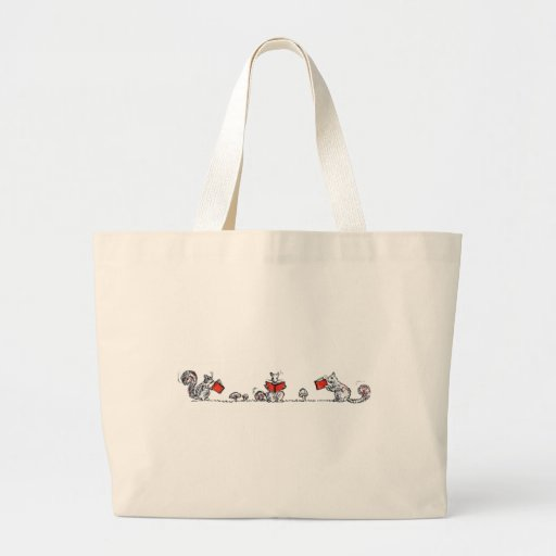 Cute Vintage Squirrels Reading Books Bags