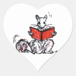 Cute Vintage Squirrels Reading Books Heart Sticker