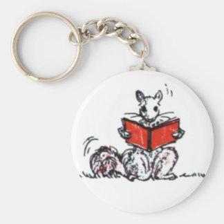 Cute Vintage Squirrels Reading Books Key Chain