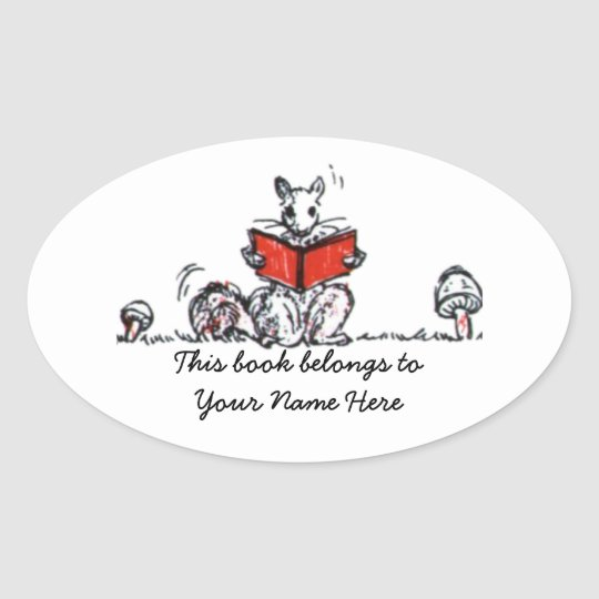 Cute Vintage Squirrels Reading Books Oval Sticker