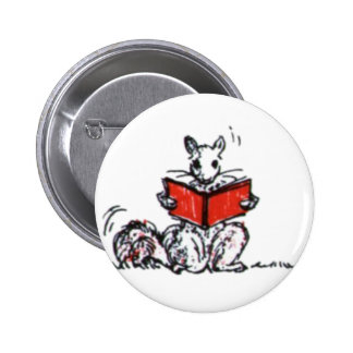 Cute Vintage Squirrels Reading Books Pinback Button