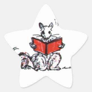 Cute Vintage Squirrels Reading Books Star Sticker