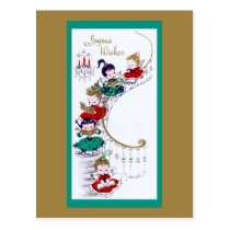 Cute Vintage Staircase of Christmas Angels Postcard