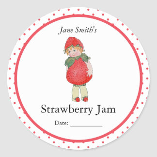 Cute Vintage Strawberry Girl Classic Round Sticker