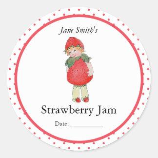 Cute Vintage Strawberry Girl Classic Round Sticker