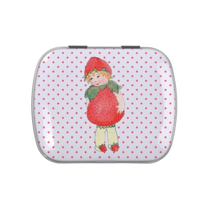 Cute Vintage Strawberry Girl Jelly Belly Tins