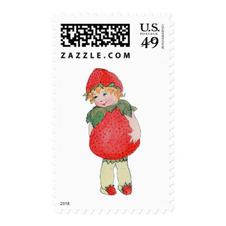 Cute Vintage Strawberry Girl Stamps