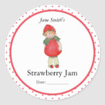 Cute Vintage Strawberry Girl Round Stickers