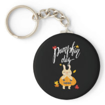 Cute Vintage Style Adorable Bunny Pumpkin Day Gift Keychain