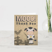 Cute Vintage Style Cow and Farm Animals MOOO! Thank You Card