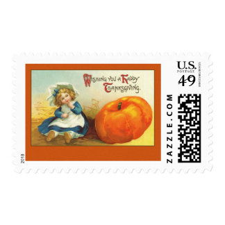Cute Vintage Thanksgiving Art Greeting Cards Postage Stamp