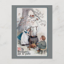 Cute Vintage Thanksgiving Children Holiday Postcard
