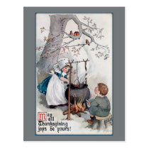 Cute Vintage Thanksgiving Children Postcard