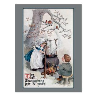 Cute Vintage Thanksgiving Children Postcard at Zazzle