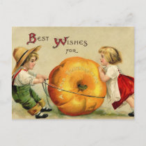 Cute Vintage Thanksgiving Greeting Holiday Postcard