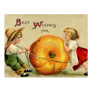 Cute Vintage Thanksgiving Greeting Postcard