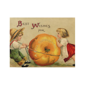 Cute Vintage Thanksgiving Greeting Wood Poster